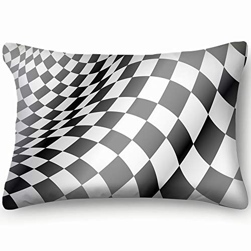 tuyi Checkered Flag Waved Design Race Championship Flag Sports Recreation Flag Sports Recreation Home Decor Wedding Gift Engagement Present Housewarming Gift Cushion Cover 20x30 inch