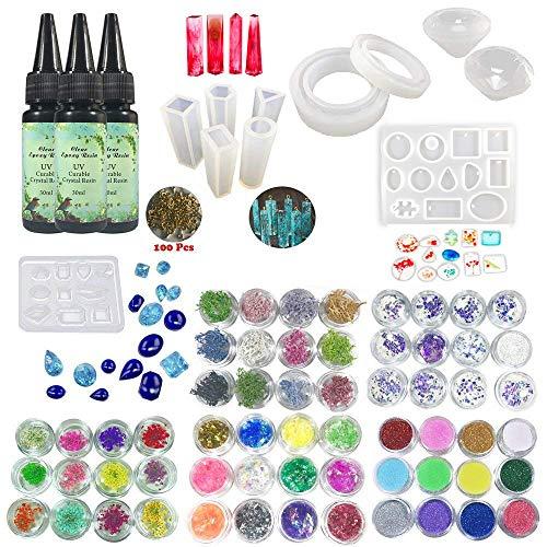 Kit bijoux résine époxy UV transparent 3 * 30 ml + 11 moules (31 formes) + 100 bagues pour colliers à pendentifs + 12 fleurs séchées + 12 corail + 12 gobelets + 12 holographiques + 12 paillettes