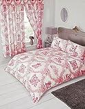 My Home Einzelbett Toile de Jouy rot,/Bettbezug Bettwäsche-Set, traditionelles Blumenmuster Damast Country Design, Koralle Pastell-Rot
