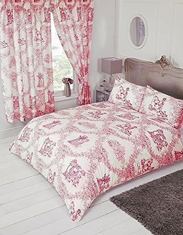 Lit king size Toile de Jouy Rouge, Housse de couette Parure de lit, par My Home, Damas Country Motif floral traditionnel, Corail Rouge pastel