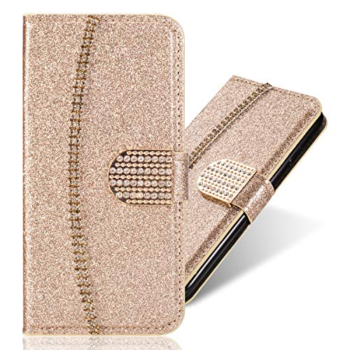 Kartenfach Magnetverschluss für Samsung A50, Leder Diamant Loves Funkeln Bling Glitzer BookStyle Slim Ledertasche Schutzhülle Flip Folio Wallet Stand Card Slots Pocket Etui Hülle Cellular Card