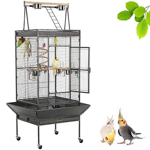 Yaheetech Gabbia Voliera Grande per Uccelli Pappagalli Calopsita in Metallo e Legno con Ruote Giocattolo da Interno e Esterno Nera