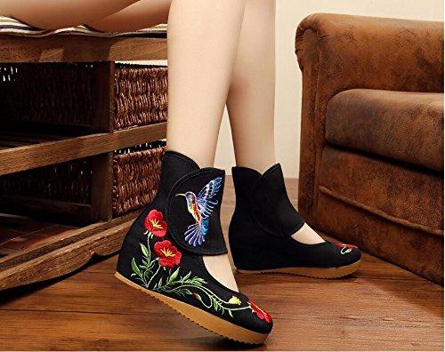 KHSKX-Vieux Beijing 5 Centimètres De Tissu Noir Et Des Bottes Ancient Chinese Folk Vent Des Chaussures De Unique Peu Élevé Courte Pente Bottes Chaussures De Danse. Thirty-four