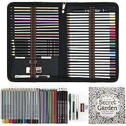 Lápices de Colores para Dibujo Profesional,Set Dibujo Artistico - 48 Colores únicos para Libro de Colorear para Adultos - Regalo Ideal para Artistas, Adultos y Niño