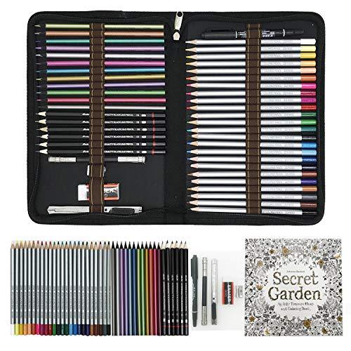 Matite Colorate Professionali da Disegno,Sketching Set 48 Matite da Disegno di alta qualità per disegnare e colorare - Ideali per la scuola, per adulti e bambini