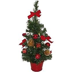 matches21 Kleiner Weihnachtsbaum mit Lichterkette & Deko Tannenbaum 45 cm LEDs warmweiß beleuchtet & rot geschmückt / fertig dekoriert Weihnachtsbäumchen batteriebetrieben