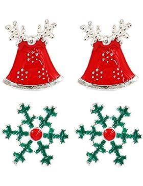 FANSING Weihnachts Schmuck Geschenk 925 Sterling Silber Ohrstecker Ohrringe 2 Sets Packs für Kinder Mädchen Damen