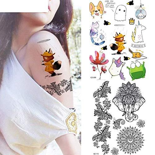 ruofengpuzi DIY Flash niedlichen Fuchs Cartoon Kind arm Tattoo Aufkleber weibliche sexy Spitze Elefanten Kopf Tattoo temporäre Kind Gesicht Tattoo Papier