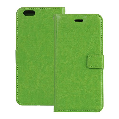 iPhone 6 Hülle Leder, E-Lush Premium PU Leder Tasche für iPhone 6 6S (4,7 zoll) Einfach Einfarbig Muster Klapphülle 360 Full Body Protection Flip Case Wallet Cover Weiche Flexible TPU Soft Rückseite A grün