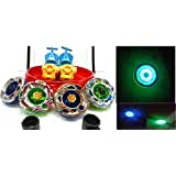 Shop & Shoppee 4 Metal Beyblades With Led Lights (4 Launchers & 1 Big Beyblade Stadium With 2 Spring Action Launcher) - Assorted Design