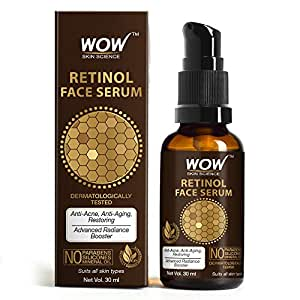 WOW Skin Science Retinol Face Serum - OIL FREE - Skin Plumping, Boost Collagen, Anti Acne, Anti Aging, Restoration - No Parabens, Silicones & Mineral Oil - 30mL