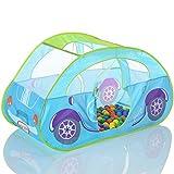 LCP KIDS Pop Up Spielzelt Auto als Kinder Spielhaus und Bällebad mit 100 bunten Bällen - Blau