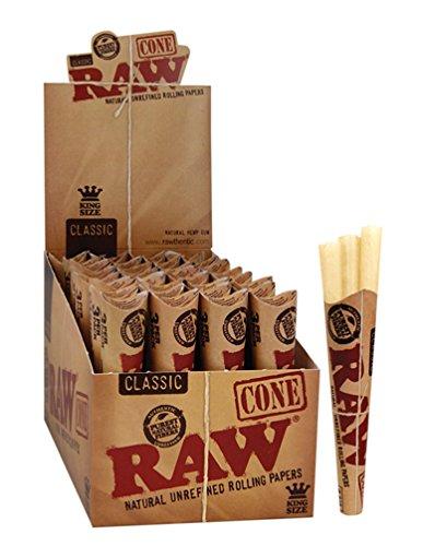 RAW Cones Classic vorgerollte Joints ungebleicht Cone King Size 45 Cones (15 Packungen)