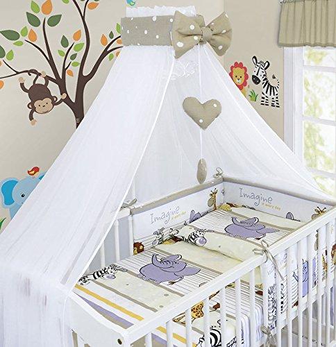Zoo Blue LUXURY 10Pcs BABY BEDDING SET COT PILLOW DUVET COVER BUMPER CANOPY to Fit Cot Size 120x60cm 100/% COTTON