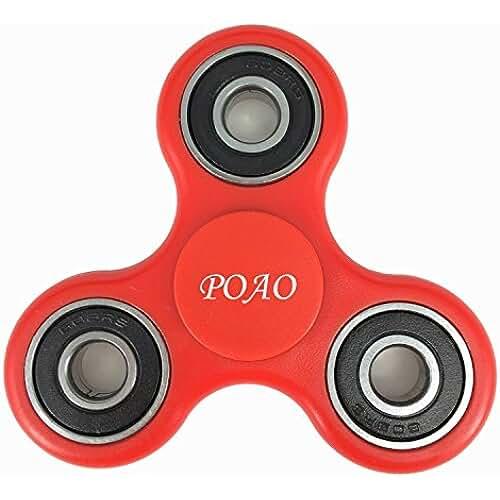 fidget spinner el nuevo juguete de moda Fidget Spinner,POAO Inger Tri-Spinner Portátil Fidget Trabajo Ultra Rápido Rodamientos Juguete de Dedo Bueno Para Aliviar el Estrés ADHD EDC Tiempo de Matar a Mano (Rojo)