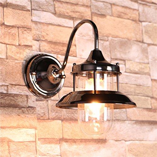 ZQ@QX Traditionelle dekorative Wand Lampe einfache Hotel-Café Restaurant Wand Lampe Eisen Kunst Glas Wandleuchte