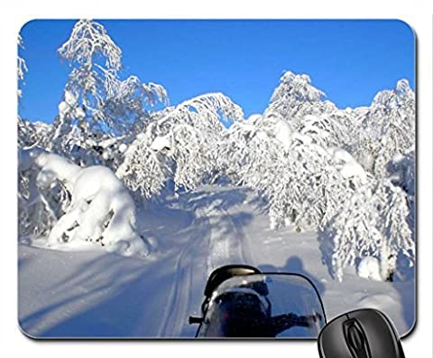 discovering Finland by snowmobile Mouse Pad, Mousepad (Winter Mouse