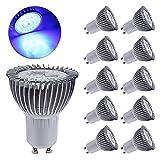 GreenSun LED Lighting 10er Pack GU10 LED Lampe, 3W Reflektorlampe 240LM, Ersetzt 35 Watt Halogenlampe, 220V LED Leuchtmittel Spot Birnen Stahler, 120° Abstrahwinkel, Blau-Licht