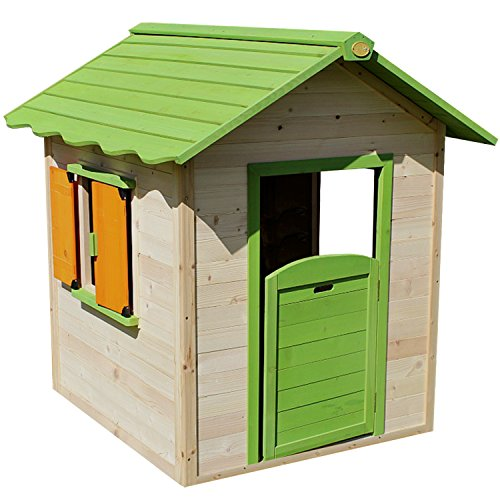 Big Game Hunters Chestnut Pre Painted Wooden Playhouse, Easy Assembly Childrens Outdoor Wendy Play House 4 x 4 feet