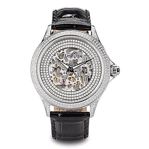 tianrans Herren Kristall akzentuierte Lünette Skelett Zifferblatt Leder Band Silber Edelstahl Automatik Armbanduhr - Gold Diamond Bezel Orologio
