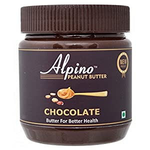 Alpino Chocolate Peanut Butter Smooth 1 KG | Made with Roasted Peanuts, Cocoa Powder & Choco Chips | 20% Protein | Non…