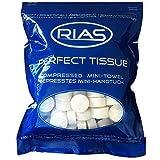 Original Rias 100 Stück Trockentücher in Form von Tabletten, Handtuchpillen, 100% biologisch abbaubar, gepresstes Mini-Handtuch, platzsparend, weich, Handtuch, Geschirrtuch, saugfähig, Erfrischungstuch mit Wasser, Reinigungstuch, Perfecttissue