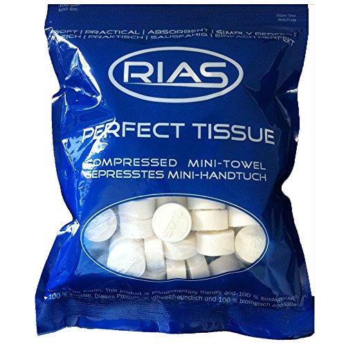 Original Rias 100 Stück Trockentücher in Form von Tabletten, Handtuchpillen, 100% biologisch abbaubar, gepresstes Mini-Handtuch, platzsparend, weich, Handtuch, Geschirrtuch, saugfähig, Erfrischungstuch mit Wasser, Reinigungstuch, Perfecttissue -