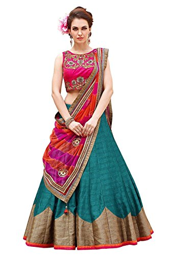 SKY GLOBAL Women\'s Embroidered Banglori silk Lehenga Choli (Lehnga_215_Free Size_Multi coloured)
