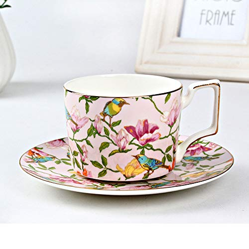 Kaffeetasse Set Kombi hochwertiges Bone China Kaffeetasse Fashion Gold Edge Flower Teetasse Untertasse Set Western Style Lie Fallow Afternoon Tee Tasse