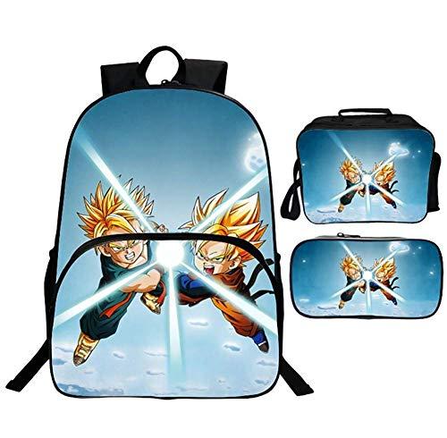 Kinderrucksäcke 3D Gedruckt Dragonball Z Goku 3 Stück Schultaschen Set zum Teenager Jungs Lässiger Daypack Mäppchen, Reisepicknick,C