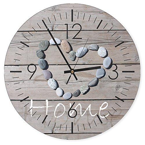 Feeby, Wanduhr, mehrfarbige Deco Panel Bild mit Uhr, Durchmesser 40 cm, Steine, RUSTIKAL, BRETTER, GRAU, Text, AUFSCHRIFTEN, Home