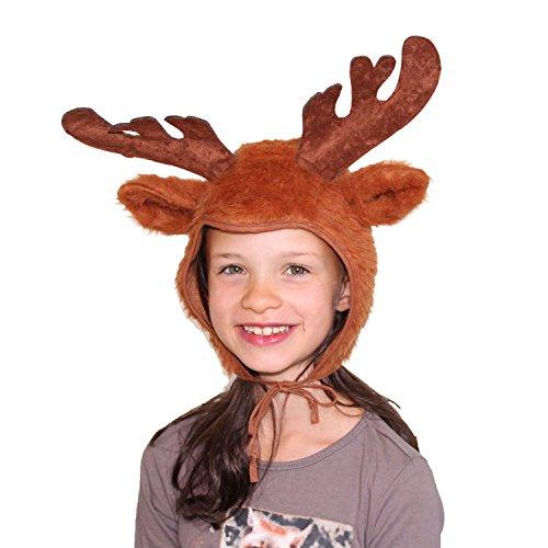 Kinder Mütze Rentier Braun Märchen REH Kopfbedeckung Weihnachten Karneval