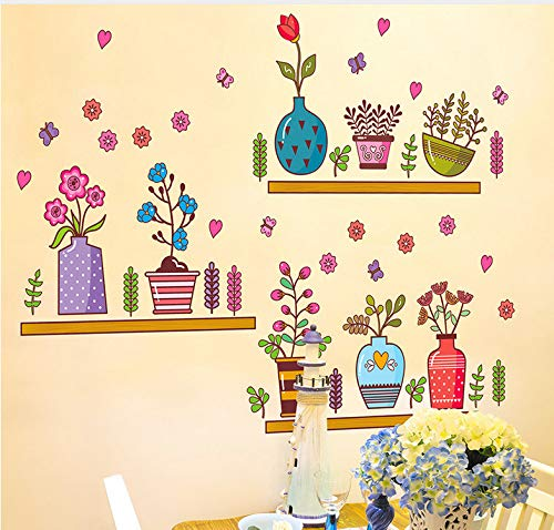 Wiwhy Colorful Potted Flowers Wall Stickers With Shelves Wall Stickers Succulents Cactus Bonsai Wall Art Mural Poster Diy Home Decor40X60Cm