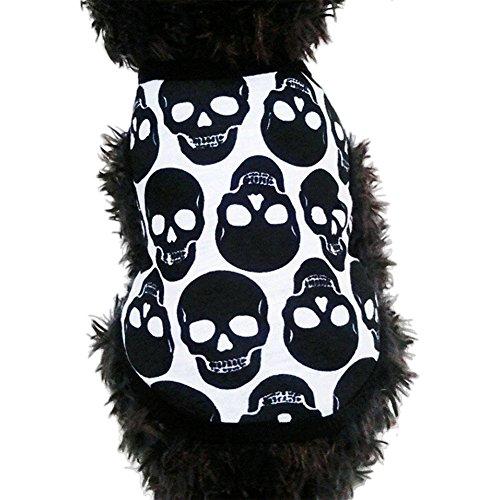 ng Süßer kleiner Puppy Halloween Skull Weste Shirt bedruckt Sweatshirt Apparel Kostüm (Skull Girl Kostüm)