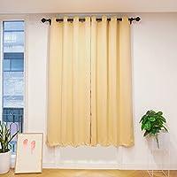 Ataya Cortina opaca oscurecimiento paneles, color liso ventana cortinas ojales, beige, 135×245cm,2 Panels
