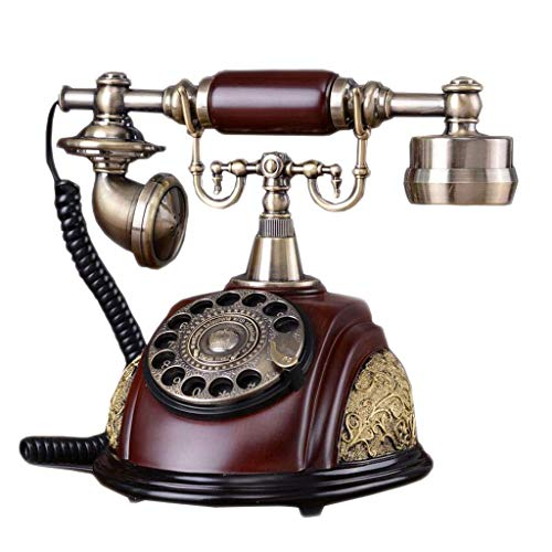 Mahagoni-massivholz Sitz (Wghz Retro Telefon Mahagoni Farbe Massivholz Metall Rotierenden Doppel Ring Zifferblatt Garten Mode Kreative Sitz Europäischen Home Office 16,5 cm * 26 cm * 25 cm)