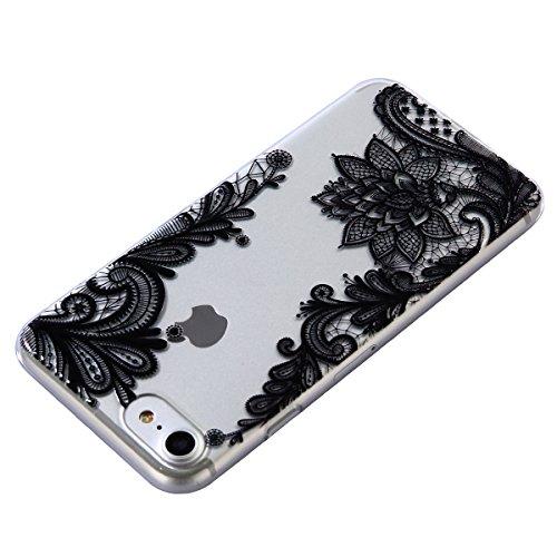 iPhone 7 Custodia, iPhone 7 Cover Silicone, JAWSEU Apple iPhone 7 4.7 Case Caso TPU Ultra Sottile Cristallo Chiaro Luminoso Bella Modello Brillante Trasparente Custodia Cover per iPhone 7 Protezione A Pizzo Fiore Nero