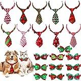 Frienda 20 Piezas Corbatas de Perro de Navidad Corbatas de Mascota Pequeños Variado de Navidad Collar Pajarita Ajustable Festival para Decoración de Navidad de Gato Perro