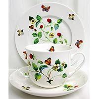 fragole & farfalle colazione/soggetto. per One fine Bone China piatto e tazza grande con piattino decorato a mano nel Regno Unito.