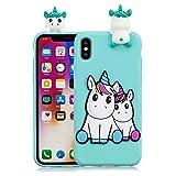 HopMore Compatible pour Coque iPhone XR Silicone Souple 3D Design Motif Panda Licorne Drôle Etui Étui Antichoc Ultra Mince Fine Housse Protection pour Fille Femme - Unicorn Verte
