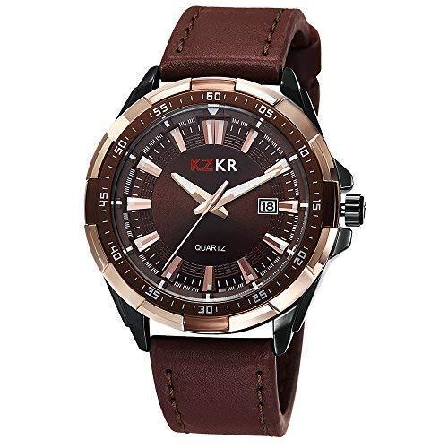 NEU KZKR Herren Uhr Armbanduhr Braun Leder Quarz Elegant Herrenuhr Männer Uhren K386
