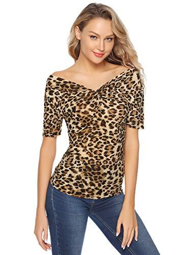 Aibrou Estampado de Leopardo Top Mujeres Cuello en V Profundo Frente de Nudo Torcido Manga Corta Camisa Hombro On/Off