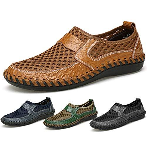 gracosy Mokassins für Herren, Frühling Sommerschuhe Damen Mokassins Slipper Slip-on Schuhe Atmungsaktiv Mesh Bootsschuhe Flach Loafers rutschfest Business Schuhe Schwarz Braun Blue, MEHRWEG -