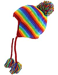 WOOL KNIT EARFLAP BOBBLE HAT FLEECE LINED RAINBOW