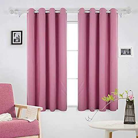 Deconovo Ring Top Curtains Solid Thermal Insulated Blackout Curtains for