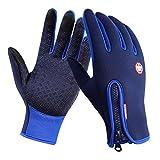 Tuopuda® Gants sport pour extérieur compatibles écran tactile Gants d'hiver coupe-vent pour homme et femme (M, bleu)