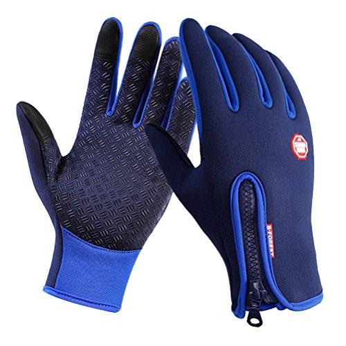 Winter Handschuhe - Tuopuda Winddichte Touchscreen Sport Wasserdichte Handschuhe Unisex Outdoor Vollfinger Handschuhe zum Laufen Radfahren Skifahren Wandern Jagen Klettern Camping (L, blau)