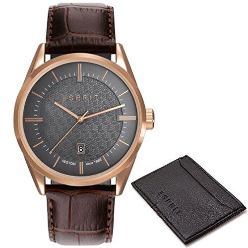 Esprit Mens Analogue Classic Quartz Watch with Leather Strap ES109421003