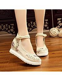 DESY Scarpe ricamate, suola a tendina, stile etnico, scarpe da donna, moda, comodo, casual all'interno dell'aumento , black , 35