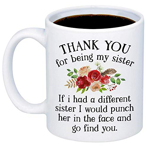 Funny Gifts For Sister - If I Had A Different Sister I Would Punch Her In The Face And Go Find You Coffee Mug - Sarcastic 11oz Cup For Your Best Friend, Sister, Sibling, Birthday, Christmas - Glas Punch Cup
